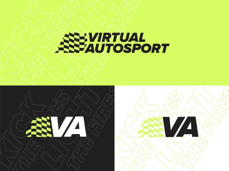Virtual Autosport checkered twitch esports simulator racing neon green logo badge cars typography branding design vector kansas city