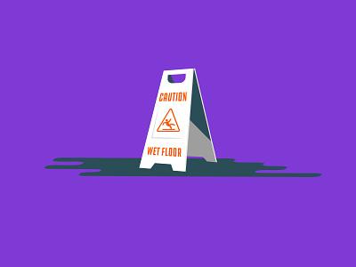 Vectober 2020 – Day 12 Slippery vectober2020 vectober inktober2020 inktober wet floor wet slip slippery purple orange typography illustration design vector kansas city