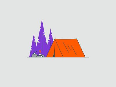 Vectober 2020 – Day 15 Outpost vectober2020 vectober inktober2020 inktober forest tent outpost camp camping orange illustration design vector kansas city