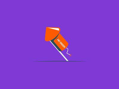 Vectober 2020 – Day 16 Rocket vectober2020 vectober inktober2020 inktober daddy fireworks rocket purple orange illustration design vector kansas city