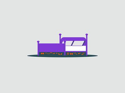 Vectober 2020 – Day 21 Sleep inktober2020 inktober vectober2020 vectober monsters sleep bed purple orange illustration design vector kansas city