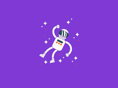 Vectober 2020 – Day 28 Float float character stars astronaut spaceman purple inktober inktober2020 vectober2020 vectober orange illustration design vector kansas city