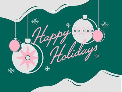 Holiday Card 2020 vintage retro pink green ornament christmas holidays typography illustration vector kansas city