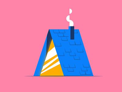 Inktober - Roof inktober2021 inktober a frame cabin roof pink illustration design vector