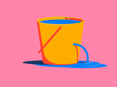 Inktober - Leak leaky pink bucket leak inktober 2021 inktober illustration design vector