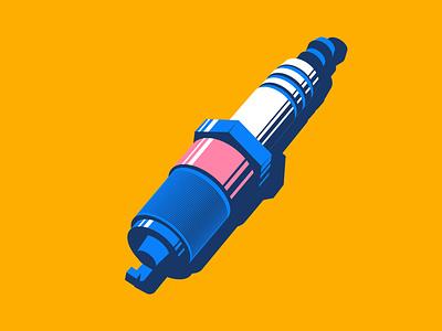 Inktober - Spark minneapolis yellow cars automotive spark plug spark inktober illustration design vector