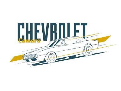 Icon 015 Camaro chevy chevrolet camaro kansas city illustration linear vector design blue cars automotive