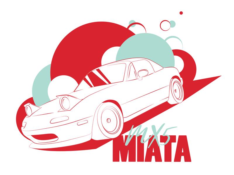 Icon 008 Miata icon teal illustration design red linear cars automotive vector kansas city