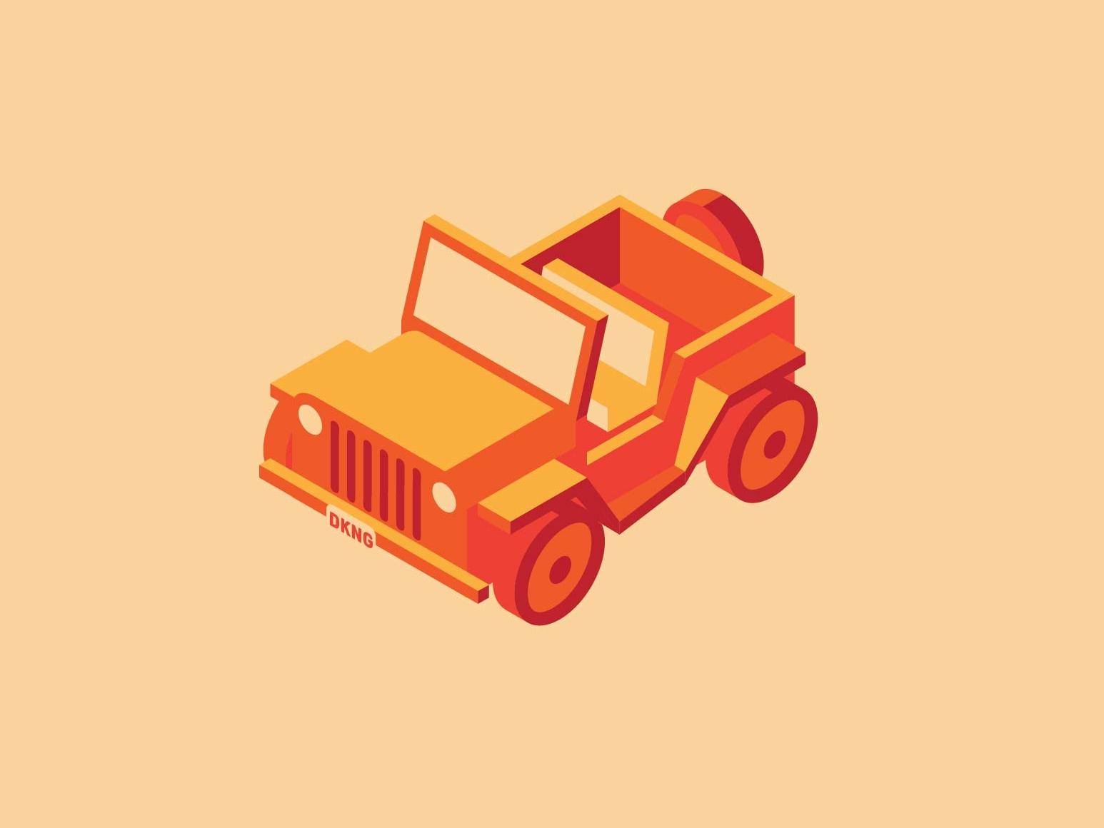 Isometric Jeep skillshare jeep orange red illustration design cars automotive vector kansas city