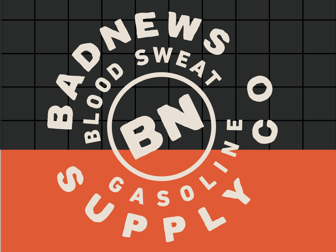 Badnews Supply Exploration typography badge orange branding design automotive vector kansas city