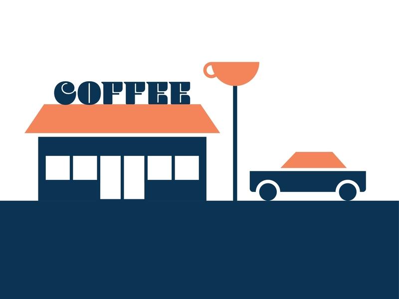 Coffee shop vibes retro coffee cup coffee shop shop coffee orange blue illustration cars design automotive vector kansas city