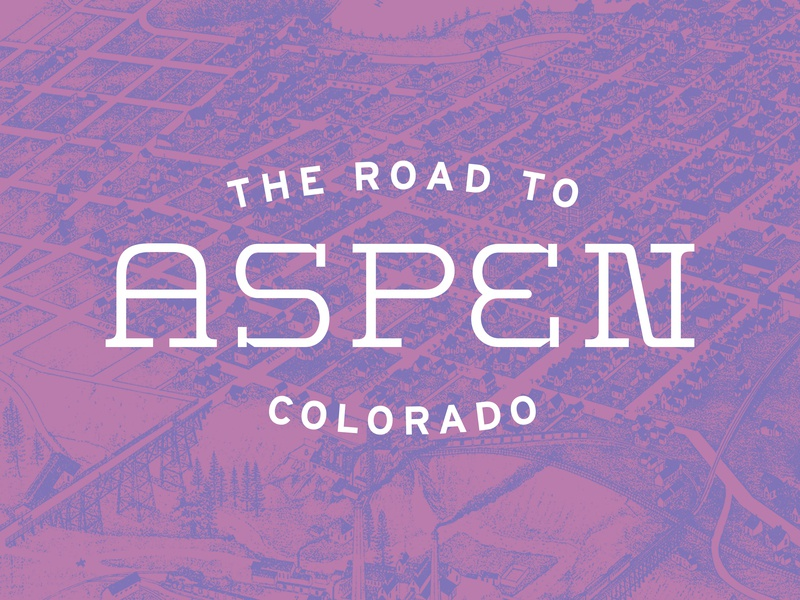 Road to Aspen road roadtrip colors mountains pink purple map duotone lockup aspen colorado design typography