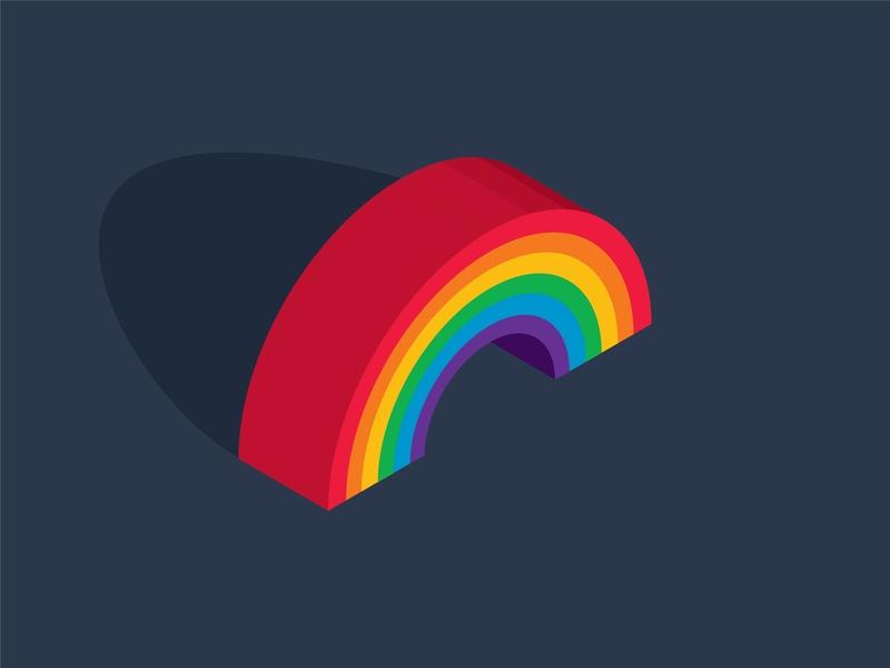 Gay Little Rainbow isometric pride month june gay pride gay pride rainbow yellow violet green red blue orange illustration design vector kansas city