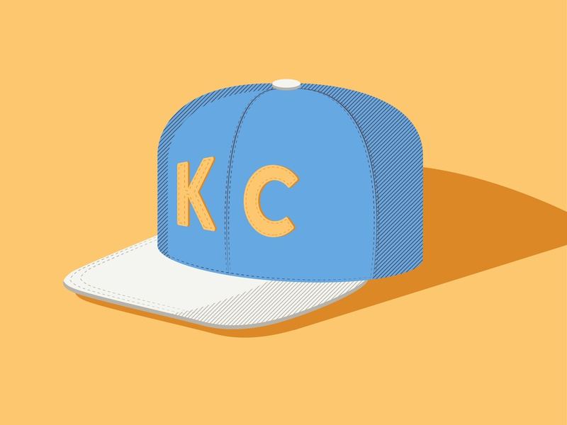 Kansas City Hat linear ball cap hat blue illustration design vector kansas city