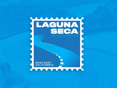 Laguna Seca (Weekly Warm-up #10) weekly warm-up racetrack stamp gradient blue cars typography automotive design vector kansas city