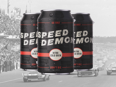 Speed Demon Cold Brew (Weekly Warm-Up #19) weekly warm-up label racing vintage cold brew packaging can coffee texture logo orange cars branding automotive typography design vector kansas city