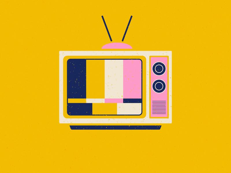 Vintage TV mid-century texture yellow television vintage illustration design vector kansas city