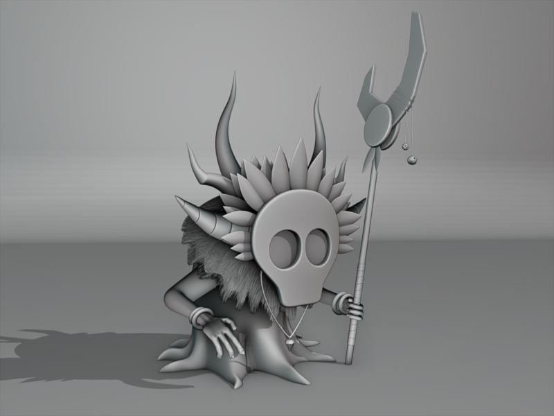The Tiki Shaman - WIP skulls staff shaman tiki shaman 3d illustration 3d modelling blender3d b3d nepal illustration stylustechnology