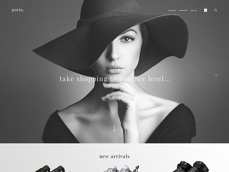 Porto. beauty fashion landing page interface interaction homepage digital template design architecture