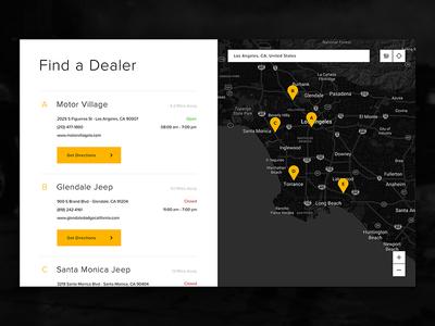 Find a Dealer Jeep landing page jeep interface interaction fca digital design cars automotive architecture