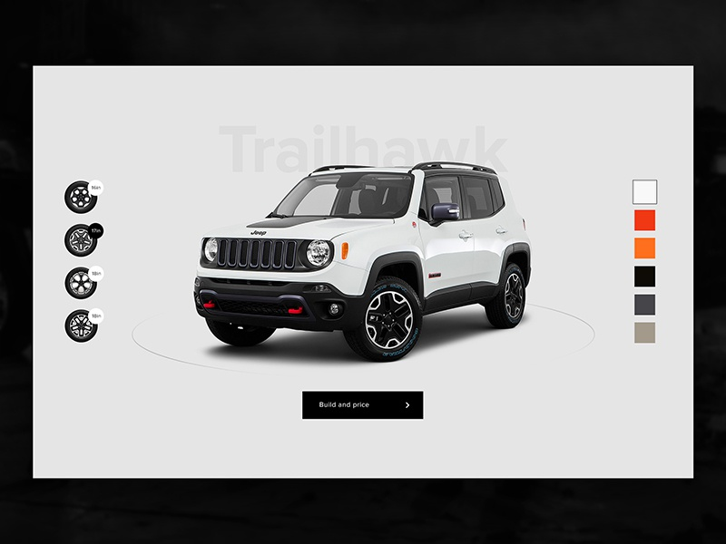 Build and Price - Jeep landing page jeep interface interaction fca digital design cars automotive architecture