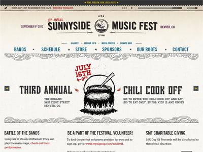 Sunnyside Music Fest Website web design ux design ui design