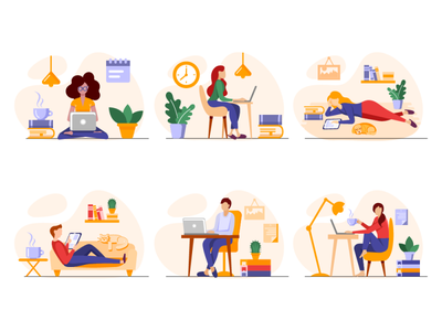 Freelancing or studying at home working people comfortable cosy tablet office student work freelance study online laptop home character vector illustration