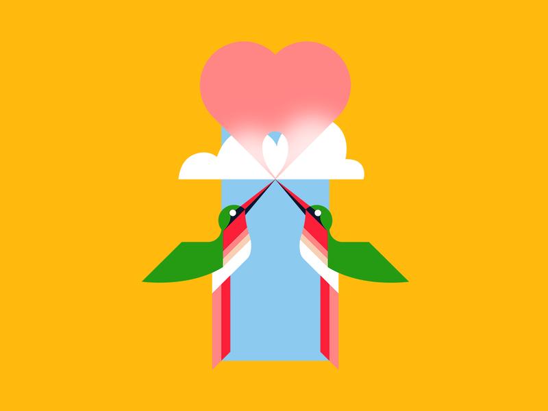 💖Hummingbird Heartbeat 💖 humming bird yellow sky fly music cloud hummingbird bird pop art popart pop gum bubble gum transparency heart love valentine pattern illustrator illustration