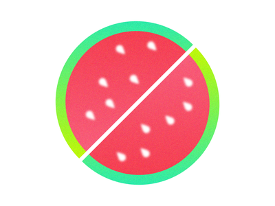 🍉 Watermelon O 🍉 vector blur transparent transparency simple green pink o letter hand lettered fruit gradient palette hand lettering illustrator illustration