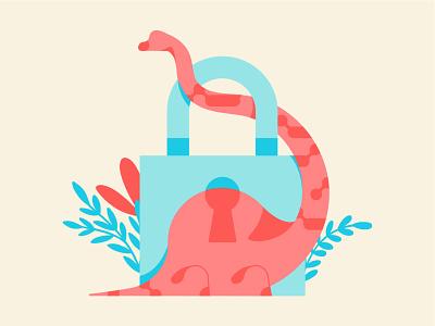 🦕 Internet Explorer is Dead 🦕 simple clever palette vector illustrator illustration plants brontosaurus internet lock dinosaur