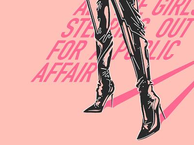 👠🚨 Public Affair 🚨👠 procreate light texture fashion illustration fashion boots black pink love palette illustration