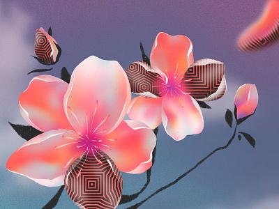 🍒🌸 Cherry Blossom 🌸🍒 composition illustrator palette plant clouds pink illustration music pop procreate pattern gradient spring floral flower pop art