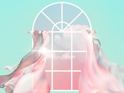 🧿 Window 🧿 music pop music pattern pop art movement motion dynamic blue sky sky clouds wind curtains window procreate palette illustration