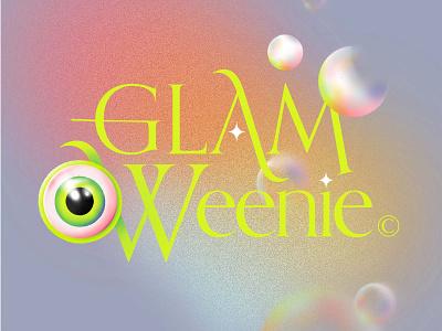 💄🎃 Glam O Weenie 🎃💄 neon eyeball witch gradient procreate bubble eye illustration typography halloween spooky fall october inktober