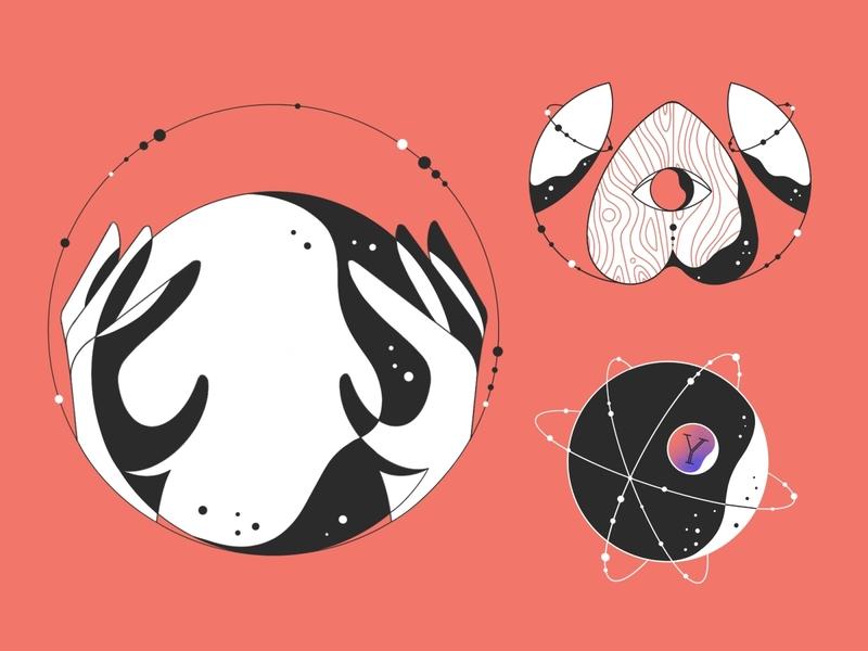 ✨Hocus Pocus ✨ illustrator procreate illustration red astrology capricorn eye line art witch pagan palette ouija board ouija magic 8 ball magic crystal ball