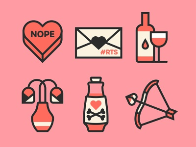 🖤Valentine's Stickers 🖤 sticker design icon set icons poison anti-valentine love arrow cherub love potion potion flowers letter wine heart palette facebook stickers goth valentinesday valentine