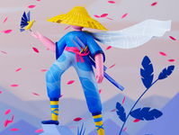 Undiscovered location samurai outdoors character 3dillustration 3d art illustration