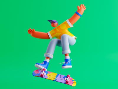 Airtime! skateboarding skateboard character 3dillustration 3d art illustration