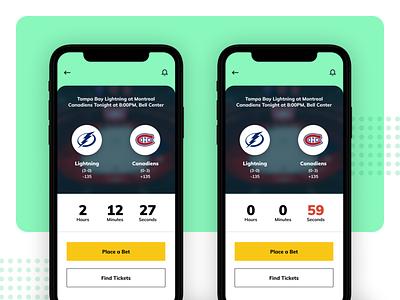 Daily UI 014 - Countdown Timer mobile app sports betting ui dailyui