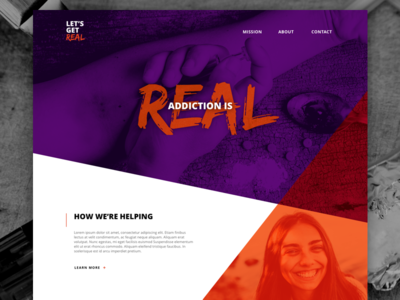 Let's Get Real landing page website layout homepage