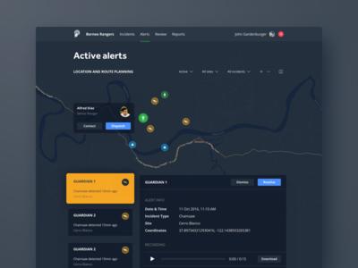 Dispatch dashboard dark mode night dark mode dark map location surveillance data dashboard visualization graph bar chart