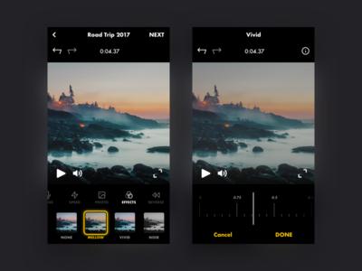 Video effects adjust filters effects clip movie film video edit dark black mobile app