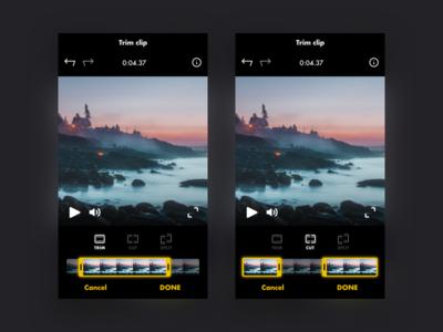 Video trimmer clip movie film video edit dark black mobile app