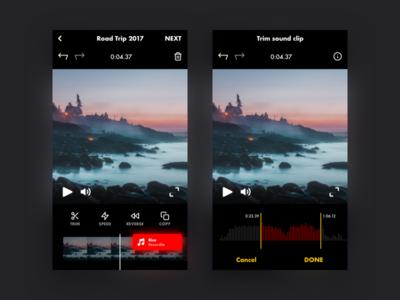 Sound clip trimmer music sound wave sound movie film video edit dark black mobile app