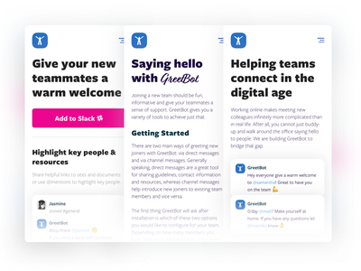 Chatbot mobile site update mobile hr teamwork teams slack onboarding landing chatbot bot