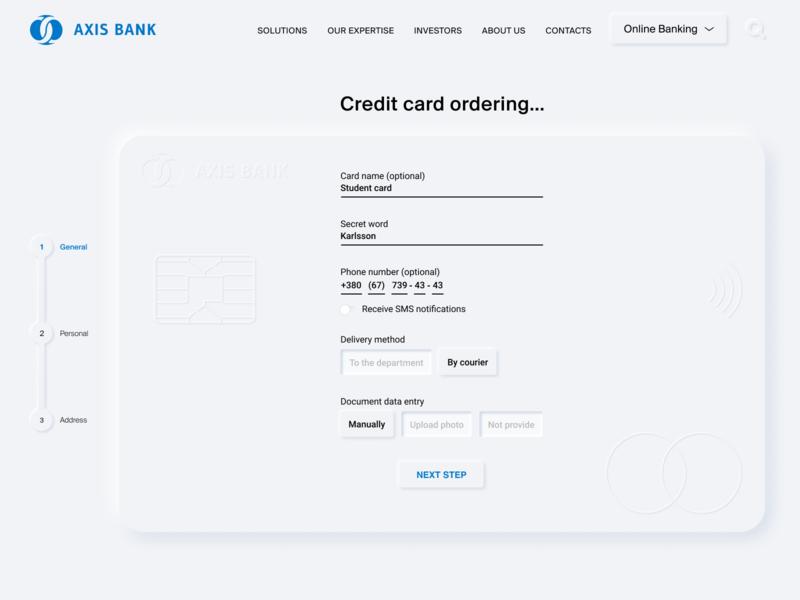 Neomorphic Credit Card Ordering