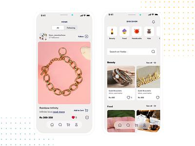 Instagram style shopping app for the unique handmade crafts home discover shop handmade craft instagram ecommerce design iphone x sketch app ui