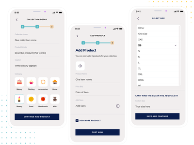 Form for adding a product & sizes seller side ux flow list listing shop product form design iphone x sketch app ui