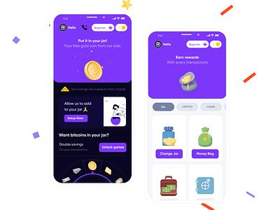 Behaviourally informed design - Jar app redesign gamification money fintech finance behavioural science design sketch app ui