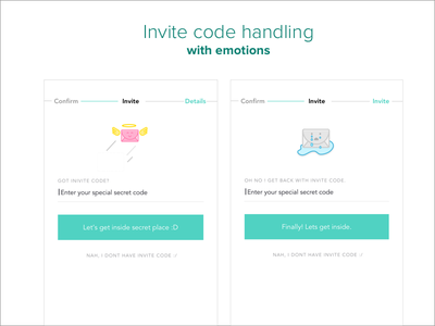 Invite code handling with emotions characters mobile ui invite form